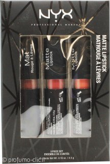 NYX Matte Rossetto Gift Set 06 1 x 4.5g Maison + 1 x 4.5g Eurotrash + 1 x 4.5g Bare With Me
