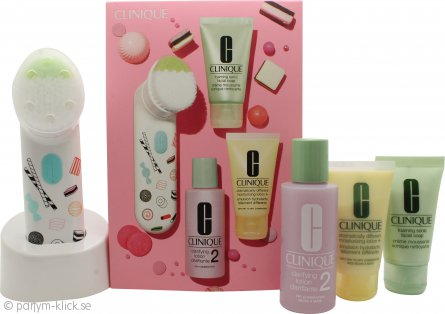Clinique 3-Step Skincare Presentset 30ml Foaming Facial Soap + 60ml Clarifying Lotion 2 + 30ml Dramatically Different Moisturising Lotion + Purifying Cleansing Brush