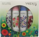 Yardley London Body Spray Collection Gift Set 4 x 2.5oz (75ml) English Lavender + English Rose + English Bluebell + English Dahlia