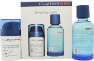 Clarins Men Energizing Experts Gift Set 50ml Super Moisture Gel + 100ml Aftershave Energizer