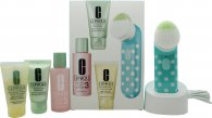 Clinique Sonic System Gift Set 30ml Foaming Sonic Facial Soap + 60ml Clarifying Lotion 3 + 30ml Clinique Dramatically Different Moisturizing Gel + Sonic System Purifying Cleansing Brush