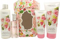 Yardley English Rose Geschenkset 50ml EDT + 200ml Body Wash + 250ml Körperlotion + 100ml Hand Cream