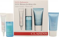 Clarins HydraQuench Gift Set SOS Hydration Kit - 15ml HydraQuench Cream Normal to Dry Skin + 15ml HydraQuench Intensive Serum Bi-Phase + 10ml Eye Contour Gel