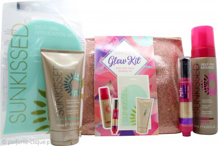 Sunkissed Glow Gift Set 5 Pieces 200ml Self Tan Mousse - Medium + 150ml Body Primer + 3.5g Dusting Brush + Application Mitt + Bag