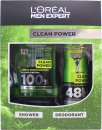L'Oreal Men Expert Clean Power Gift Set 10.1oz (300ml) Shower Gel + 5.1oz (150ml) Deodorant Spray