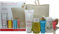 Clarins Maternity Body Care Gift Set 200ml Stretch Mark Minimizer + 100ml Tonic Body Treatment Oil + 15ml Hydra-Essentiel Cream + 5ml Instant Light Lip Perfector + Rattle + Bag