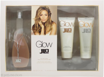 Jennifer Lopez Glow Set de Regalo 100ml EDT +  75ml Loción Corporal + 75ml Gel de Ducha
