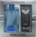 Police Cosmopolitan Set Regalo 100ml EDT + 100ml Be Younique Docciashampoo