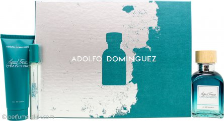 Adolfo Dominguez Agua Fresca Citrus Cedro Gift Set 4.1oz (120ml) EDT + 2.5oz (75ml) Shower Gel + 0.3oz (10ml) EDT