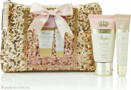 Style & Grace Utopia Glitter Bag Gavesett 50ml Hand Lotion + 10ml Lip Gloss + Glitter Bag