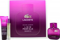 Lacoste Eau de Lacoste L12.12 Pour Elle Magnetic Gift Set 45ml EDT + 50ml Shower Gel + 7.4ml EDT Roller Ball