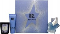 Thierry Mugler Angel Gavesæt 25ml Genopfyldelig EDP + 50ml Body Lotion + 70g Lys