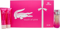 Lacoste Touch of Pink Set de Regalo 30ml EDT + 50ml Loción Corporal + 50ml Gel de Ducha