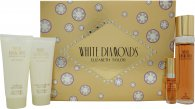 Elizabeth Taylor White Diamonds Geschenkset 100ml EDT + 100ml Body Lotion + 100ml Body Wash  + 10ml EDT