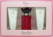 Oscar de la Renta Rose Gift Set 100ml EDT + 100ml Body Lotion + 100ml Shower Gel