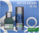 Benetton United Dreams Men Go Far Gift Set 100ml EDT + 150ml Deodorant Spray