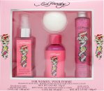 Ed Hardy Women Gift Set 100ml Body Mist + 100g Bath Salts + 95ml Body Wash + 75g Bath Fizz