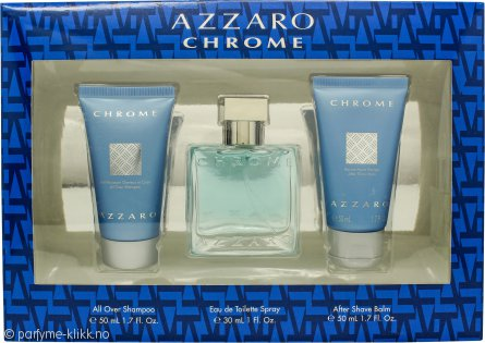 Azzaro Chrome Gavesett 30ml EDT + 50ml Dusjgele + 50ml Aftershave Balm