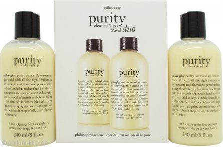 Philosophy Purity Made Simple 3-in-1 Cleanser For Face And Eyes Duo 2 x 240ml