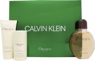 Calvin Klein Obsession Gift Set 125ml EDT + 100ml Aftershave Balm + 75g Deodorant Stick