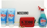 Moschino Fresh Couture Gift Set 100ml EDT + 100ml Body Lotion + 100ml Shower Gel + Cardholder