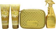 Moschino Fresh Couture Gold Gift Set 100ml EDP + 100ml Shower Gel + 100ml Body Lotion + Pouch