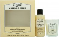 I Love... Vanilla Milk Gift Set 100ml Body Wash + 60g Candle