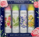 Yardley Body Spray Christmas Gift Set 75ml English Rose Body Spray + 75ml  English Bluebell Body Spray + 75ml English Dahlia Body Spray + 75 English Freesia Body Spray