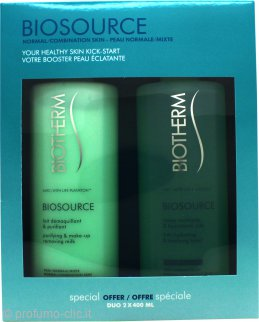 Biotherm Biosource Gift Set For Normal Skin 400ml Hydrating and Tonifying Toner + 400ml Make Up Removing Milk