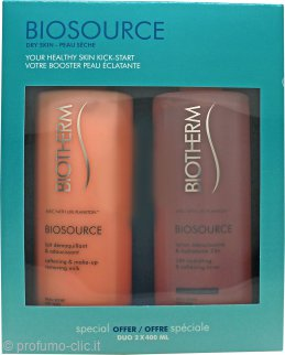Biotherm Biosource Gift Set For Dry Skin 400ml Hydrating and Tonifying Toner + 400ml Make Up Removing Milk