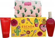Escada Flor del Sol Gift Set 3.4oz (100ml) EDT + 5.1oz (150ml) Body Lotion + Bag
