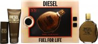 Diesel Fuel For Life Gift Set 2.5oz (75ml) EDT + 3.4oz (100ml) Shower Gel + 1.7oz (50ml) Shower Gel