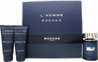Rochas L'Homme Rochas Gift Set 100ml EDT + 100ml Shower Gel + 100ml Body Lotion