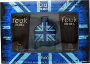 FCUK Rebel For Him Gift Set 3.4oz (100ml) EDT + 6.8oz (200ml) Shower Gel + 6.8oz (200ml) Aftershave Balm