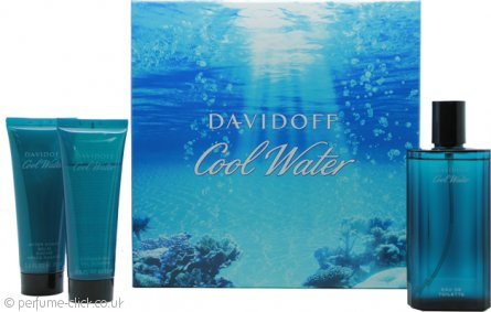 Davidoff Cool Water Gift Set 125ml EDT + 75ml Aftershave Balm + 75ml Shower Gel