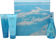 Davidoff Cool Water Woman Gift Set 100ml EDT + 75ml Body Lotion + 75ml Shower Breeze