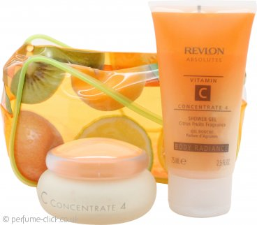 Revlon Absolutes Vitamin C Concentrate Gift Set 50ml Day & Night Moisturiser + 75ml Shower Gel + Fruit Bag
