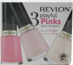 Revlon Playful Pinks Nail Enamel Gift Set 3 x 14.7ml (Classy + Angelic + Sheer Pink)