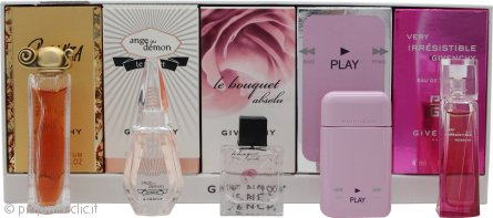 Givenchy Mini Confezione Regalo 4ml EDT Very Irresistible + 5ml EDP Play + 5ml EDT Le Bouquet Absolu + 4ml EDP Ange Ou Demon Le Secret + 5ml EDP Organza