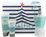 Jean Paul Gaultier Le Beau Male Gift Set 125ml EDT Spray + 75ml Shower Gel + 30ml Aftershave Balm