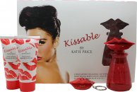 Katie Price Kissable Set de Regalo 100ml EDP + Gel de Pelo y Cuerpo 100ml Loción Corporal + Brazalete Brillo Labios