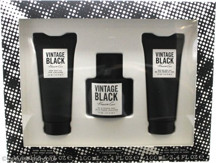 Kenneth Cole Vintage Black Gift Set 100ml EDT + 100ml A/S Balm + 100ml H/B Wash