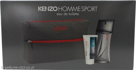 Kenzo Homme Sport Gift Set 100ml EDT + 50ml Aftershave Balm + Wash Bag