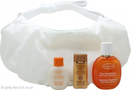 Clarins Sunshine Fragrance Eau Ensoleillante Gift Set 100ml Eau Fraiche + 50ml Body Lotion + 30ml  Liquid Bronze Self Tanning