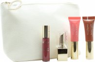 Clarins All About Lips Gift Set Mini Lipstick Rouge Eclat 13 Woodrose + Mini Instant Light Natural Lip Perfector 06 Rosewood Shimmer + Mini Instant Light Natural Lip Perfector 01 Rose Shimmer + Mini Gloss Prodige 04 Candy + Make-Up Bag