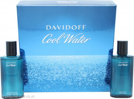 Davidoff Cool Water Gift Set 75ml EDT Spray + 75ml Aftershave Lotion