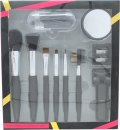 Active Cosmetics Prestige Luxe Brush Gift Set 6 Brushes + Mirror + Eye Lash Curler + 5 Applicators + Sharpener