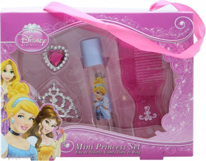 Disney Princess Ladies Gift Set Mini Princess Set 8ml EDT Roll-On + Comb + Tiara + Ring