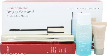 Clarins Wonder Volume Gift Set 7ml Mascara 01 Black + 30ml Instant Eye Make-Up Remover + 5ml Instant Concealer
