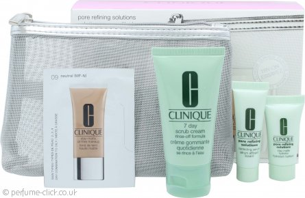 Clinique Pore Refining Solutions Gift Set 7ml Correcting Serum + 7ml Stay Matte Hydrator + 30ml 7 Day Scrub + Stay Matte Oil-Free Make-Up Sample #09 Neutral + Pouch